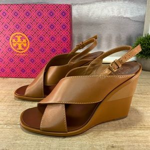 NEW Tory Burch Gabrielle Leather Wedge Sandal